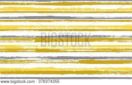 Ink Handdrawn Rough Stripes Vector Seamless Pattern. Elegant Maritime Shirt Textile Design. Vintage