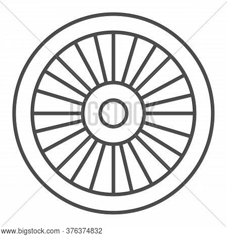 Bicycle Wheel Thin Line Icon, Bicycle Parts Concept, Bike Wheel Sign On White Background, Parts And