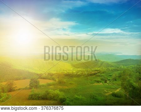 Panorama Of Thailand Country At Sunset In Evening Light. Wonderful Springtime Landscape On Mountains