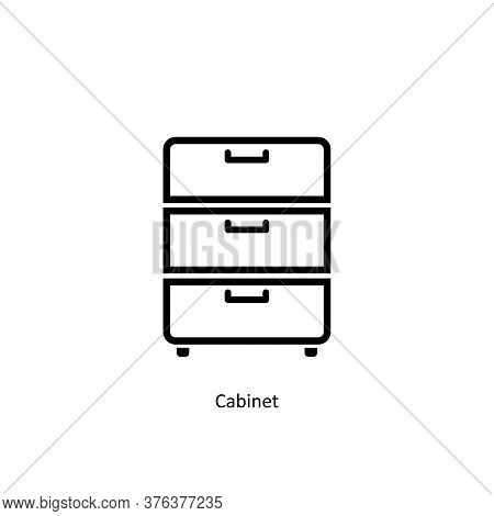 Simple Line Cabinet Icon Isolated On White Background From Work Office Supply Collection. Cabinet Ic