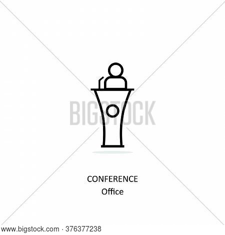 Simple Line Conference Icon Isolated On White Background From Office Collection. Conference Icon Tre