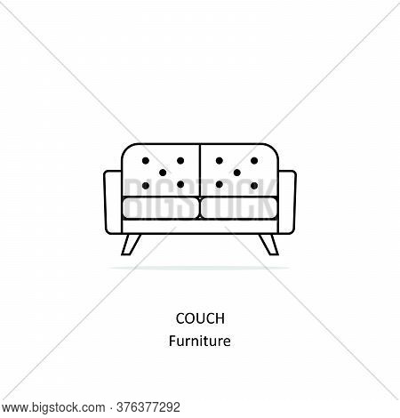 Couch Line Icon Isolated On White Background From Furniture Collection. Couch Line Icon Trendy And M