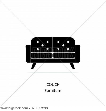 Couch Flat Icon Isolated On White Background From Furniture Collection. Couch Flat Icon Trendy And M
