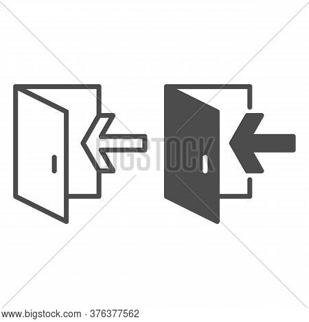 Emergency Exit Line And Solid Icon, Navigation Concept Exit Sign On White Background, Exit Door Icon