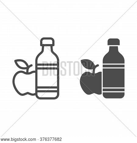 Apple And Mineral Water Line And Solid Icon, Healthy Lifestyle Concept, Bottle Of Water And Fruit Si