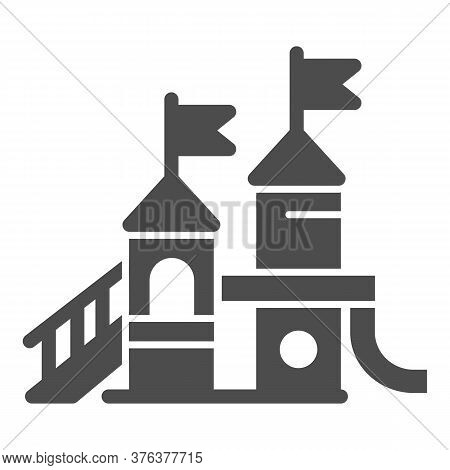 Playground Solid Icon, Amusement Park Concept, Kid Castle Sign On White Background, Playground For C