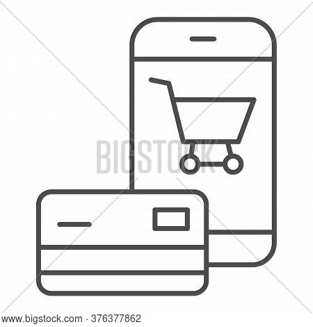 Smartphone And Credit Card Thin Line Icon, Shopping Concept, Mobile Payment From Credit Card Sign On
