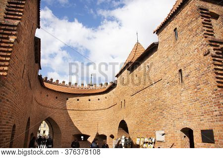 Warsaw Barbican Or Barbakan Warszawski Semicircular Fortified Outpost Between Warsaw Old Town And Ne