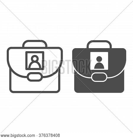 Personal School Bag Line And Solid Icon, Back To School Concept, Bag With Photo Sign On White Backgr