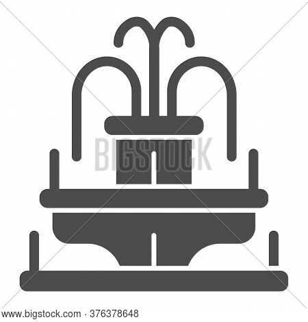 Fountain Solid Icon, Amusement Park Concept, Park Fountain Sign On White Background, Water Fountain