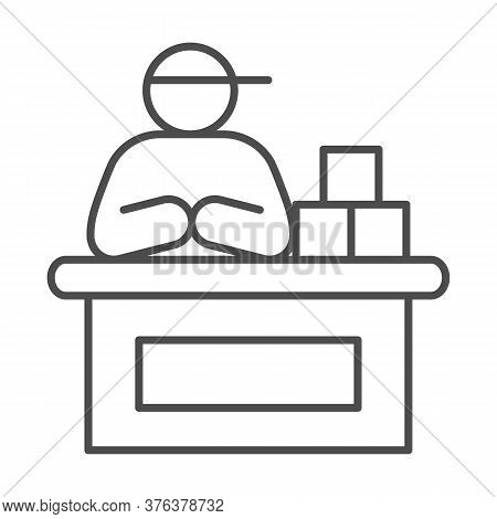 Market Seller Thin Line Icon, Market Concept, Male Seller At Checkout Sign On White Background, Vend