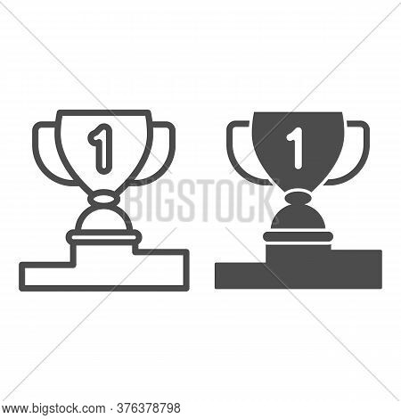 Winner Cup On Pedestal Line And Solid Icon, Sport Concept, First Place Trophy Cup Sign On White Back