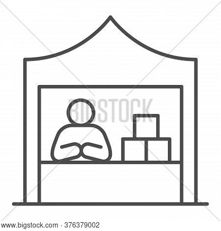 Kiosk With Seller And Goods Thin Line Icon, Commerce Concept, Marketplace Tent With Seller Sign On W