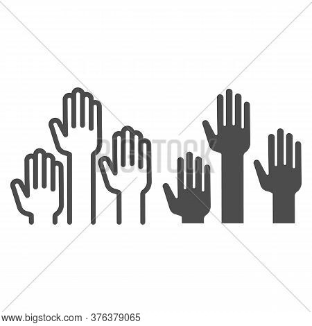 Hands Raised Up Line And Solid Icon, Education Concept, Raising Up Hands In Air Sign On White Backgr