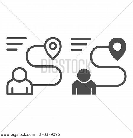 Person With Distance And Location Marker Line And Solid Icon, Navigation Concept, Travel Route With