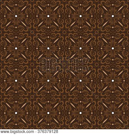 Beautiful Flower Motifs On Parang Batik With Dark Brown Color Design