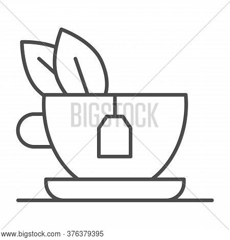 Green Tea With Mint Thin Line Icon, Breakfast Concept, Glass Mug With Tea Sign On White Background,