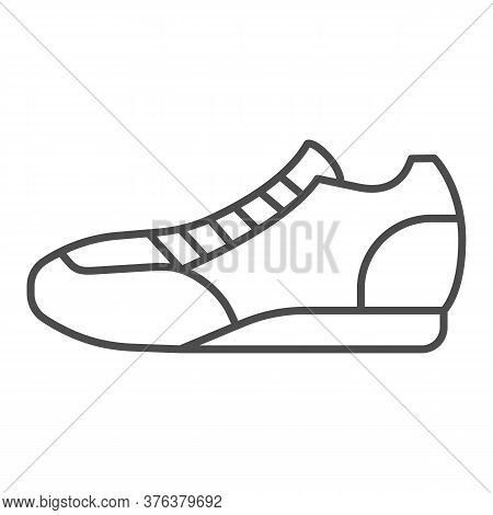 Sneaker Thin Line Icon, Sport Concept, Running Shoe Symbol On White Background, Fitness Sneakers Ico