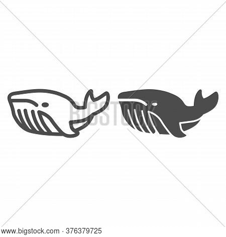 Whale Line And Solid Icon, Ocean Concept, Very Large Marine Mammal Sign On White Background, Orca Wh