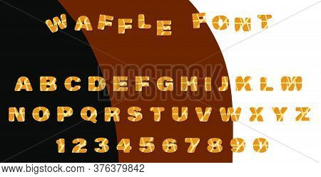 Font Baked Waffles. Cute Waffle Letters For Decorating A Cafe Or Sweets Shop Menu. Cards For Childre