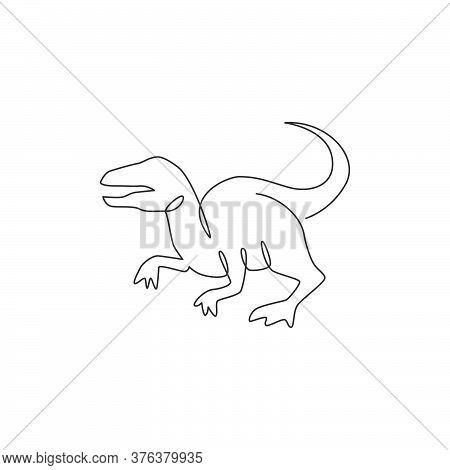 One Continuous Line Drawing Of Aggressive Predator Velociraptor Animal For Logo Identity. Raptor Rex
