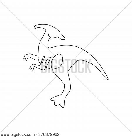 One Single Line Drawing Of Agile And Fast Parasaurolophus For Logo Identity. Dino Animal Mascot Conc