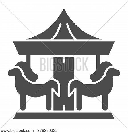 Carousel Solid Icon, Amusement Park Concept, Merry-go-round Sign On White Background, Carousel With