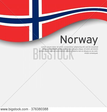 Norway Flag On A White Wavy Background. National Poster Design Of Norway. State Norwegian Patriotic