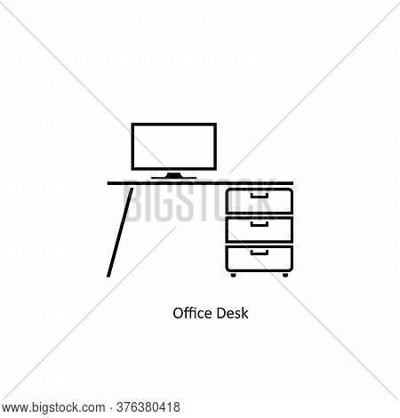 Simple Line Office Desk Icon Isolated On White Background From Office Space Collection. Office Desk