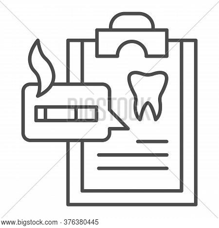 Dentist Questionnaire Thin Line Icon, Smoking Concept, Harm Of Smoking In Checklist Sign On White Ba