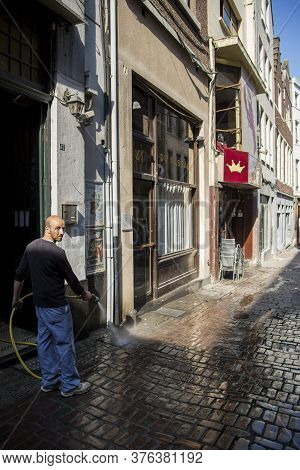 Brussels, Belgium - July 04, 2018: Morning Street Cleaning In The Center Of Brussels