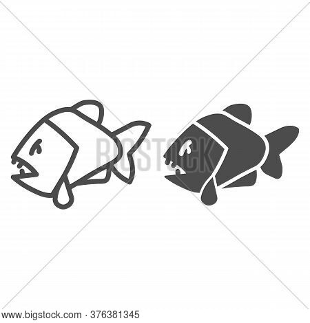 Piranha Line And Solid Icon, Ocean Concept, Aggressive Fish Predator Sign On White Background, Piran