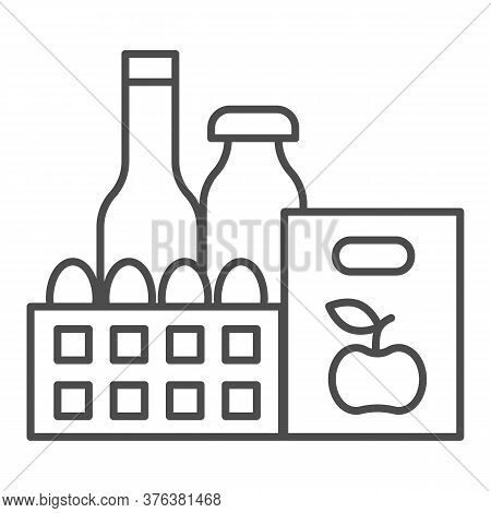 Products Thin Line Icon, Grocery Shopping Concept, Purchasing Products Sign On White Background, Sup