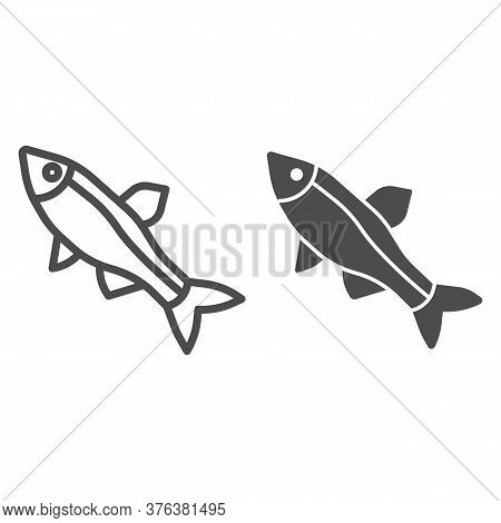 Fish Line And Solid Icon, Ocean Concept, Little Sea Fish Sign On White Background, Fish Silhouette I