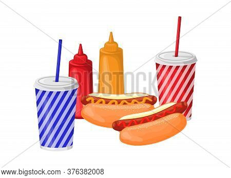 Fast Food. Set Of Two Hot Dogs, Two Glasses Of Soda, Ketchup And Mustard. Vector Illustration Isolat