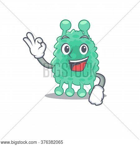 Azotobacter Vinelandii Mascot Design Style Showing Okay Gesture Finger
