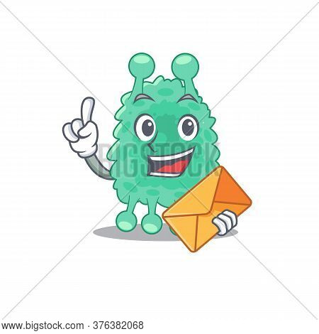 A Picture Of Cheerful Azotobacter Vinelandii Cartoon Design With Brown Envelope