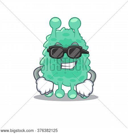 Cartoon Character Of Azotobacter Vinelandii Wearing Classy Black Glasses