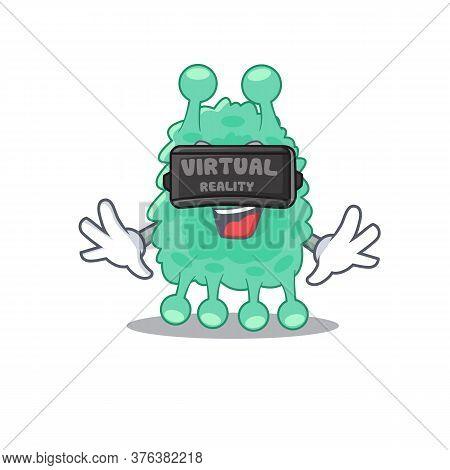 A Cartoon Image Of Azotobacter Vinelandii Using Modern Virtual Reality Headset
