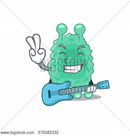 Brilliant Musician Of Azotobacter Vinelandii Cartoon Design Playing Music With A Guitar