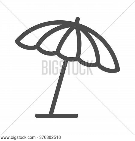 Beach Umbrella Line Icon, Summer Concept, Parasol Sign On White Background, Sun Umbrella Icon In Out
