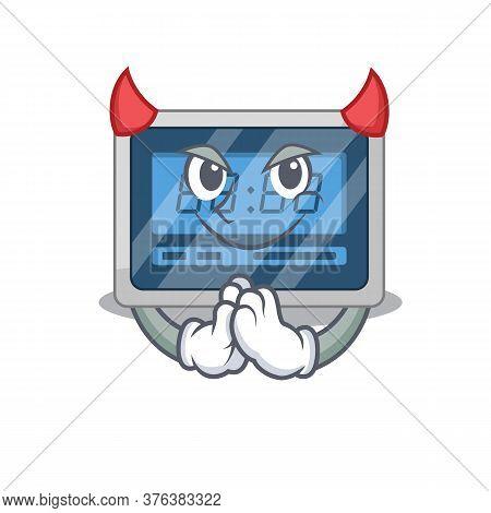 Digital Timer Clothed As Devil Cartoon Character Design Concept