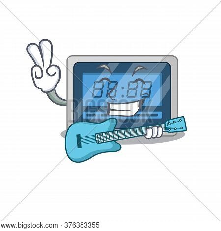 Brilliant Musician Of Digital Timer Cartoon Design Playing Music With A Guitar