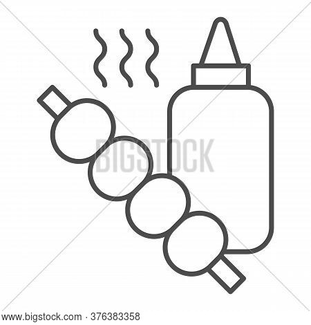 Sauce Bottle And Barbecue Thin Line Icon, Street Food Concept, Skewers With Sauce Sign On White Back