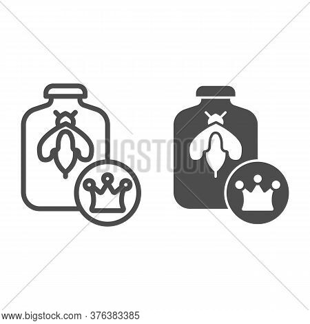Queen Of Bees In Bank Line And Solid Icon, Honey Concept, Queen Bee Sign On White Background, Bee In