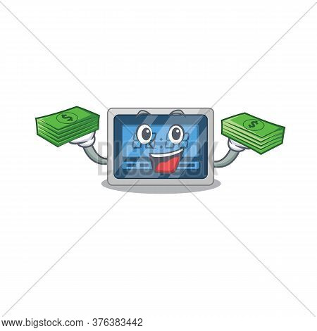 A Wealthy Digital Timer Cartoon Character With Much Money
