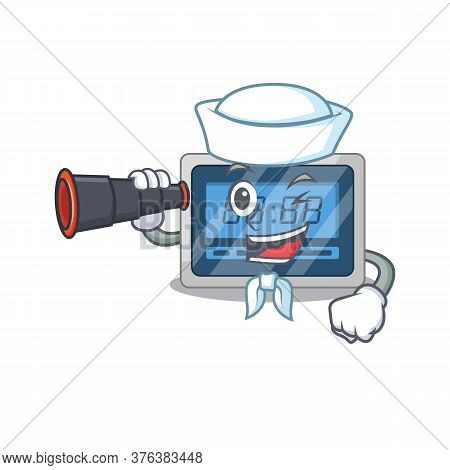 A Cartoon Picture Of Digital Timer Sailor Using Binocular