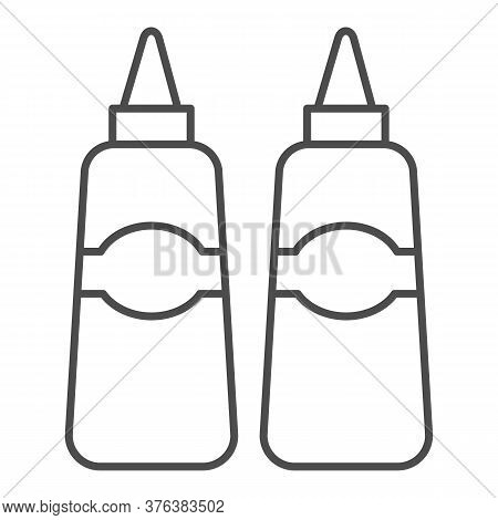 Sauce And Mustard Thin Line Icon, Street Food Concept, Sauce Bottles Sign On White Background, Bottl