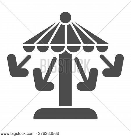Carousel Solid Icon, Amusement Park Concept, Amusement Ride With Seats Sign On White Background, Att
