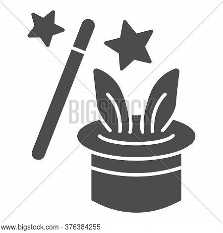 Focus With Rabbit Solid Icon, Children Entertainment Concept, Magic Trick Sign On White Background,